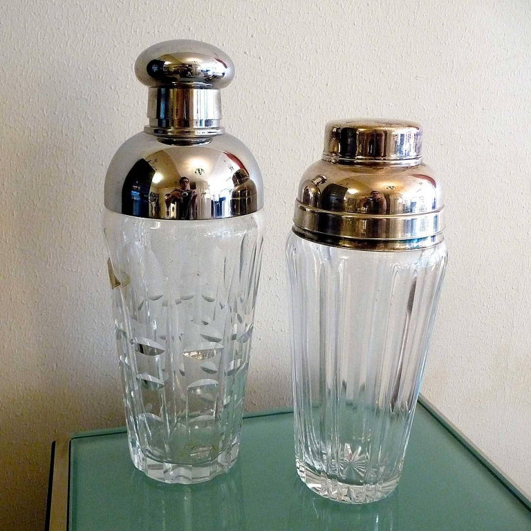 Silvered Art Deco Crystal Cocktail Shaker For Sale