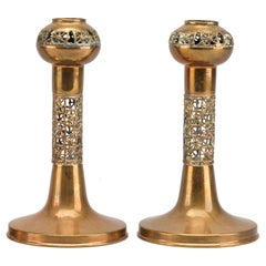Pair of Scandinavian Brutalist Gilt Bronze Candle Holders 1970s