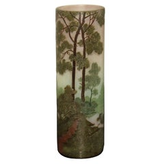 Art Nouveau Legras Vase with Trees and Lake Landscape