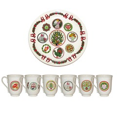 Festive Vintage Portmeirion Spirit of Christmas Footed Bowl and Mugs
