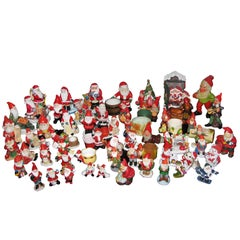 Large Collection of Santa Claus and Christmas Mid-Century Modern Figurines