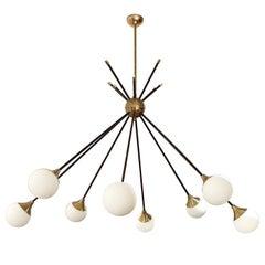 Very Elegant Eight-Light Italian Chandelier in the Style of Stilnovo