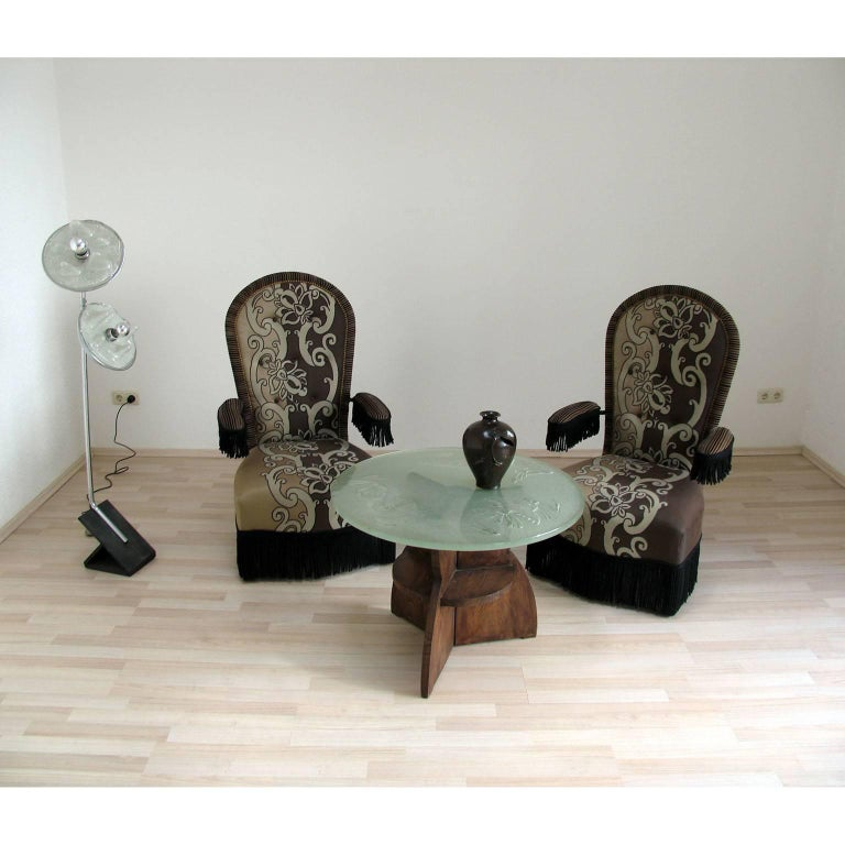 Art Deco Gueridon Wood and Impressive Saint Gobain Etched Top Glass 2