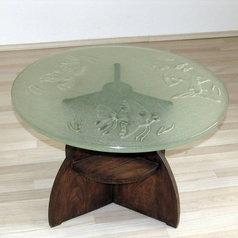 Art Deco Gueridon Wood and Impressive Saint Gobain Etched Top Glass 3