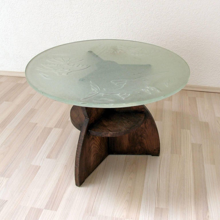 Art Deco Gueridon Wood and Impressive Saint Gobain Etched Top Glass 6