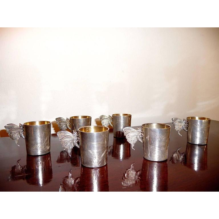 Exquisite Set Of Six French Silver Beakers By F Nicoud At