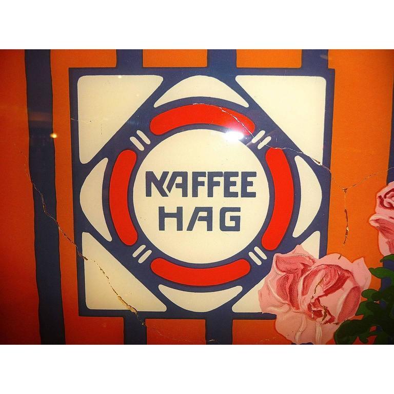 Kaffee Hag Advertising Painting On Glass At 1stdibs