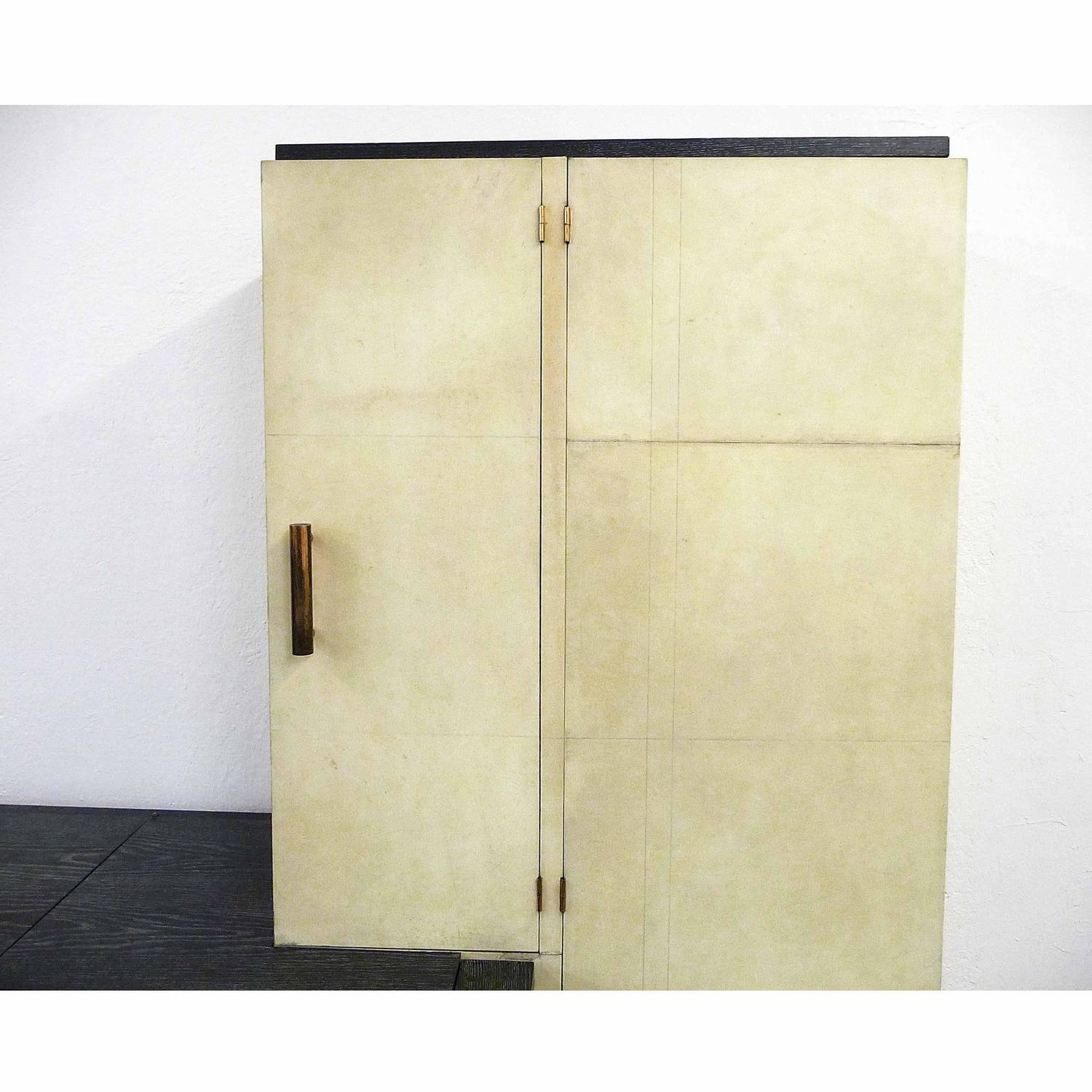 Very Important French Parchment Cabinet In A Modernist