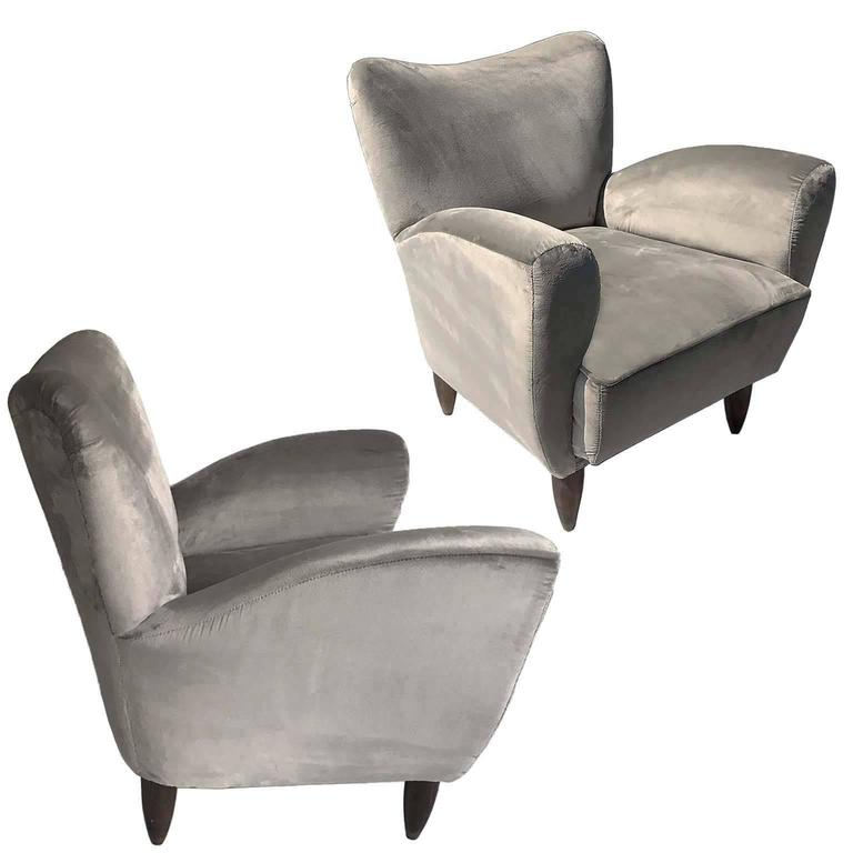 Guglielmo Veronesi Italian Armchairs in Luxurious Velvet For Sale