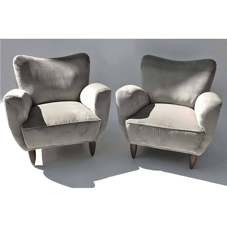 Mid-Century Modern Guglielmo Veronesi Italian Armchairs in Luxurious Velvet For Sale