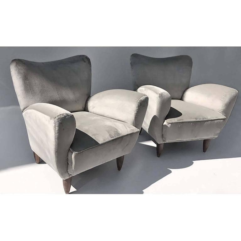 Lacquered Guglielmo Veronesi Italian Armchairs in Luxurious Velvet For Sale