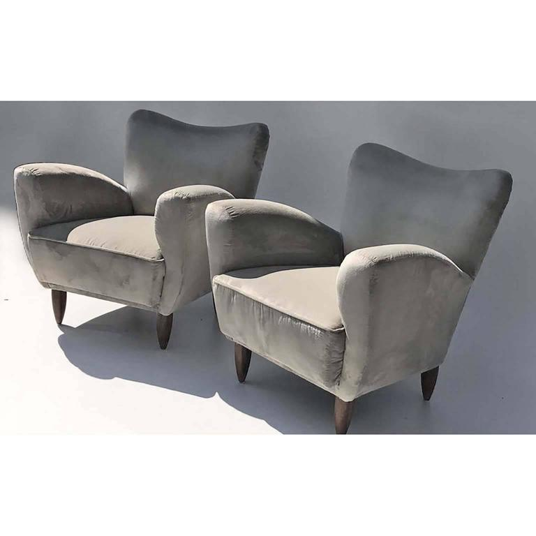 Guglielmo Veronesi Italian Armchairs in Luxurious Velvet In Excellent Condition For Sale In Bochum, NRW