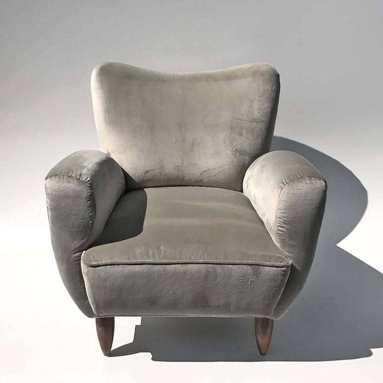 20th Century Guglielmo Veronesi Italian Armchairs in Luxurious Velvet For Sale