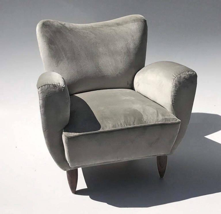 Upholstery Guglielmo Veronesi Italian Armchairs in Luxurious Velvet For Sale