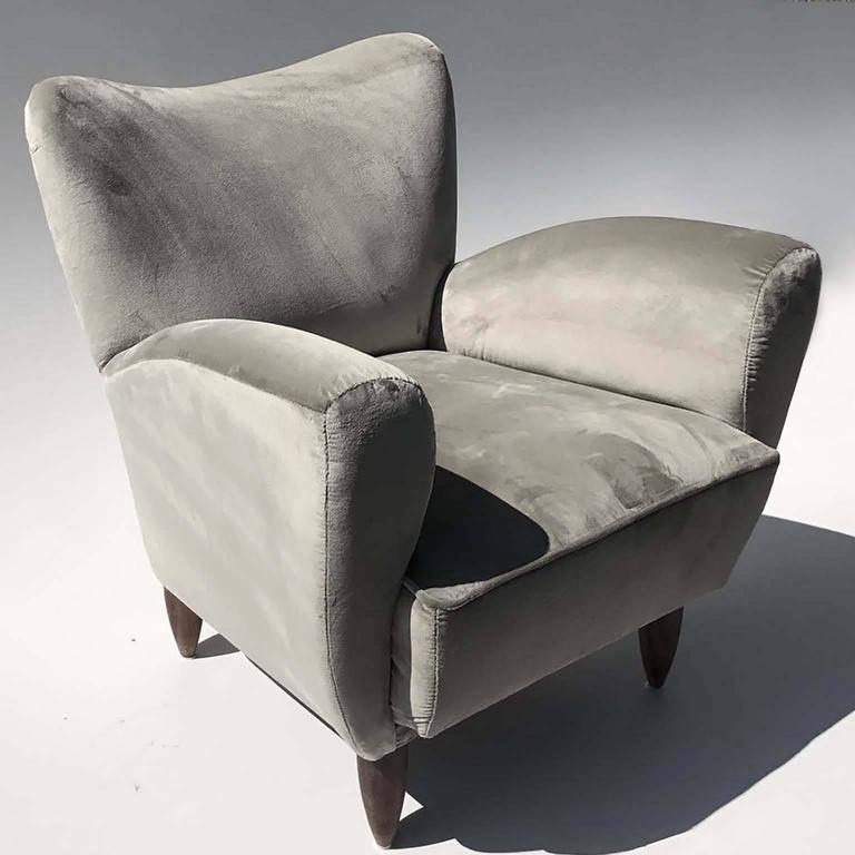 Guglielmo Veronesi Italian Armchairs in Luxurious Velvet For Sale 1