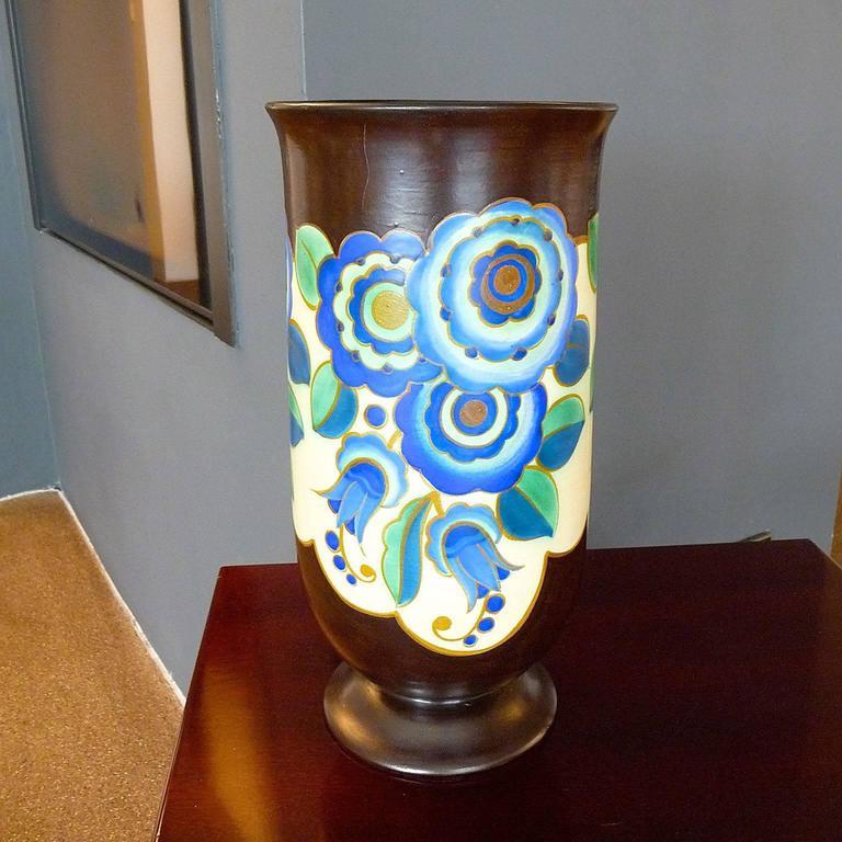 Enameled Art Deco Ceramic Vase by Keramis, Belgium