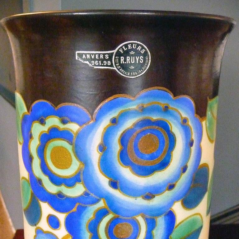 Art Deco Ceramic Vase by Keramis, Belgium 1