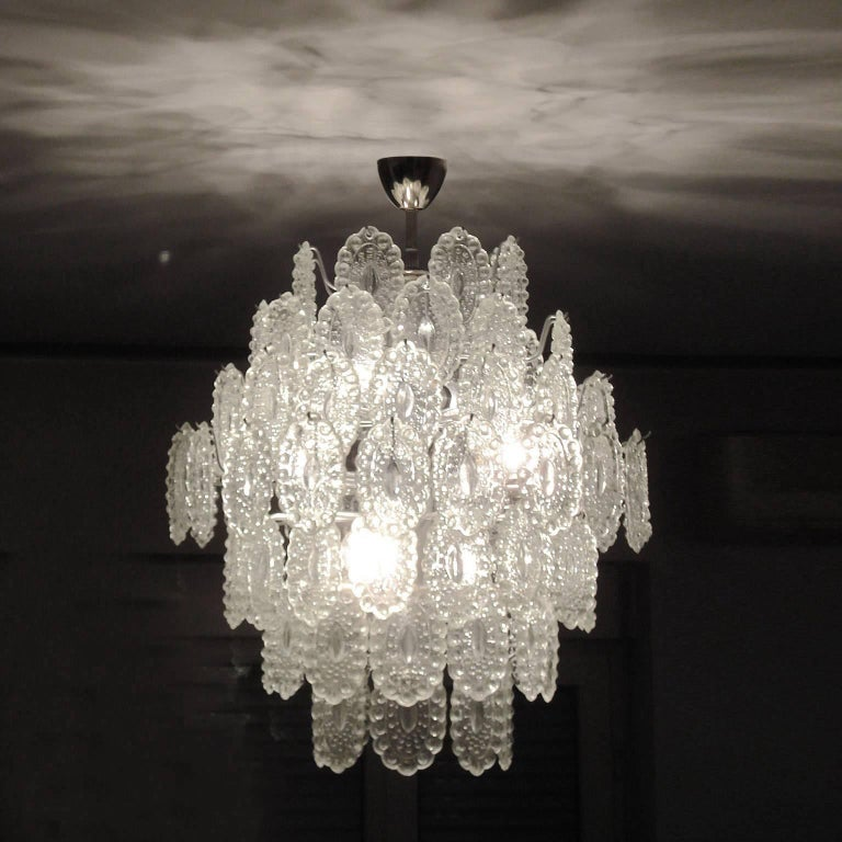 Painted Mid-Century Modern Impressive Crystal Glass European Chandelier For Sale