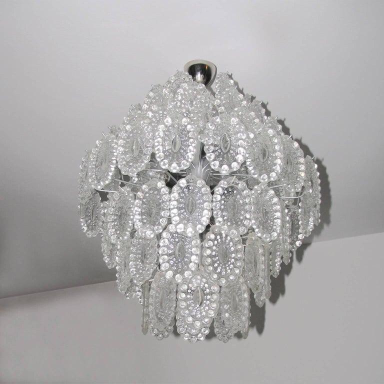 Metal Mid-Century Modern Impressive Crystal Glass European Chandelier For Sale