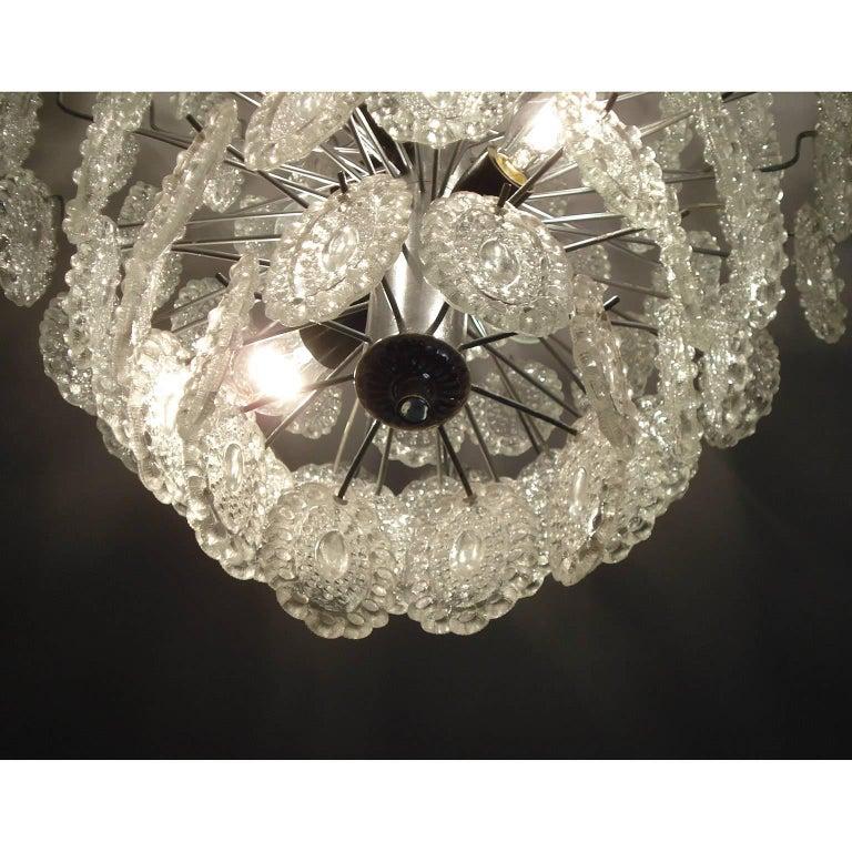 Mid-20th Century Mid-Century Modern Impressive Crystal Glass European Chandelier For Sale