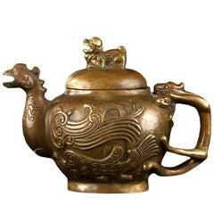 Chinese Bronze Tea Pot Pitcher Shaped as a Phoenix