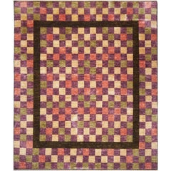 Modern Cubist Style Rug hand knotted wool carpet cirva 9 x 9 ft Coral Lilac