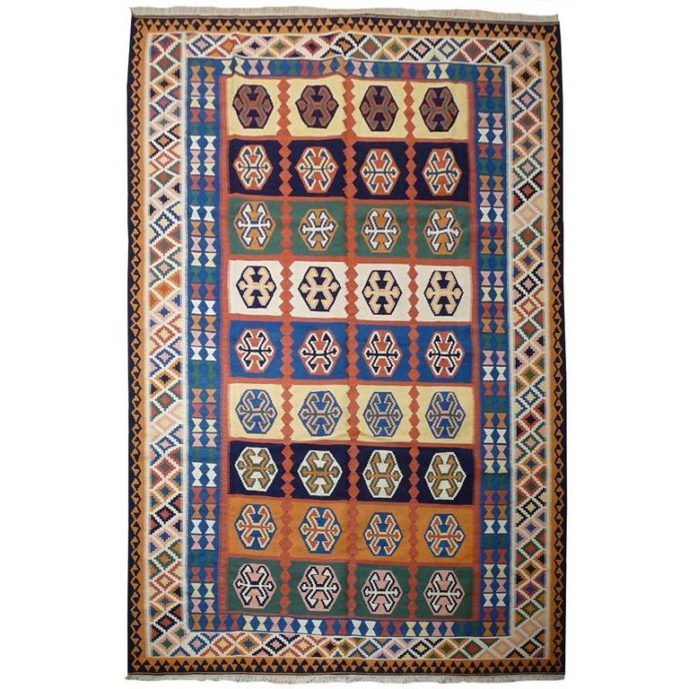 Persian Kilim Rug with Natural Dyes