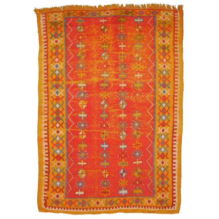 Vintage Distressed Mid Century North African Berber Rug