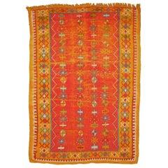 Vintage Distressed Mid-Century North African Berber Rug Industrial look
