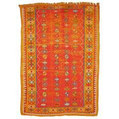 Vintage Distressed Mid-Century North African Berber Rug