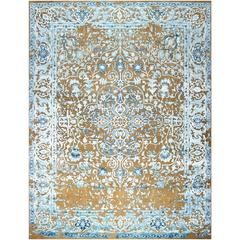 Hand-Knotted Design Rug Oxidized Wool, Viscose and Silk Brown and Light Blue