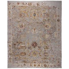 Hand-Knotted Design Rug Oxidized Wool