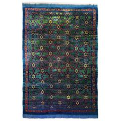 Turkish Bergama Star Rug, Vintage Rug with Natural Dyes and Mohair Wool