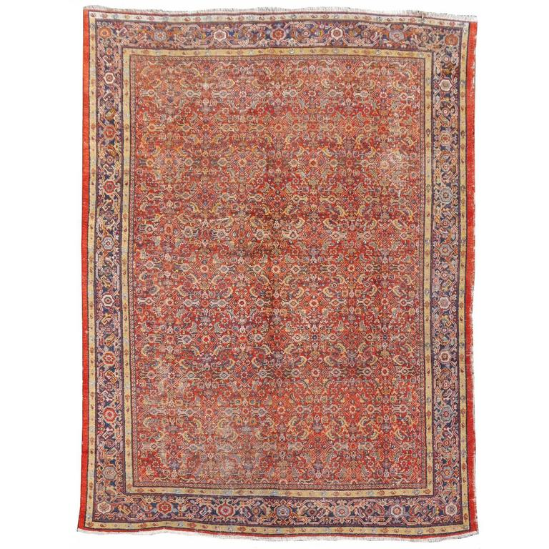 Antique Sultanabad Mahal Persian Distressed Industrial Style Rug For Sale