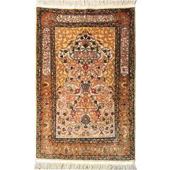 Hereke Silk and Gold Metal Thread Vintage Turkish Souf Rug