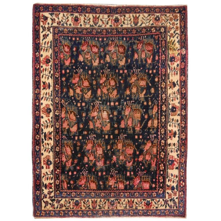 Worn Distressed Vintage Persian Rug
