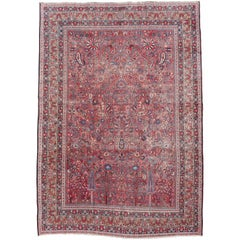 Distressed Persian Rug Dorokhsh Garden of Paradise, Signed Semi Antique Carpet