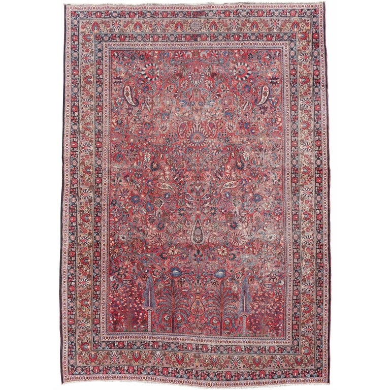 Distressed Persian Rug Dorokhsh Garden of Paradise, Signed Semi Antique Carpet For Sale