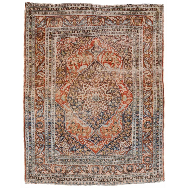 Persian Rug Haji Jalili Antique Distressed Carpet For Sale