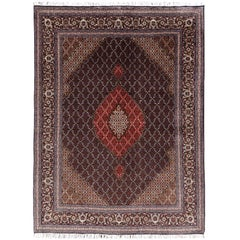 Black Persian Rug Tabriz Mahi Wool and Silk Carpet