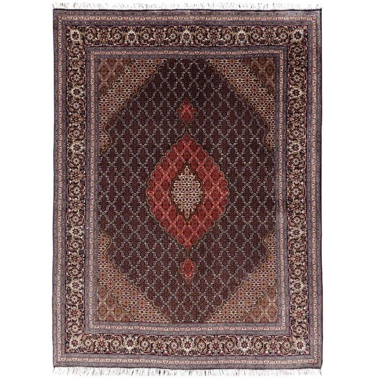 Black Persian Rug Tabriz Mahi Wool and Silk Carpet 1