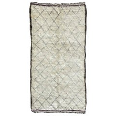 Vintage Moroccan Ivory Wool Rug with Diamond Design