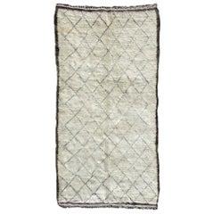 Vintage Moroccan Ivory Wool Rug with Diamond Design