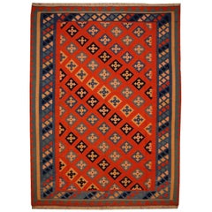 Persian Rug Kilim Handwoven with Natural Dyed Organic Wool, Vintage