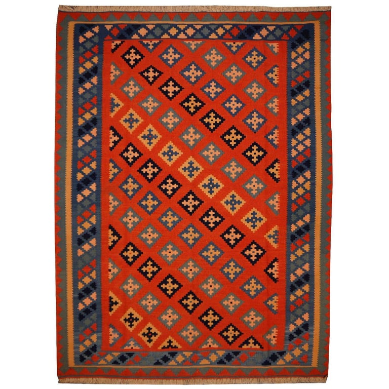 Persian Rug Kilim Handwoven with Natural Dyed Organic Wool, Vintage For Sale