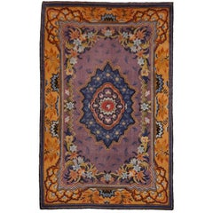 Art Nouveau Hand-Knotted Western European French Design Wool Rug