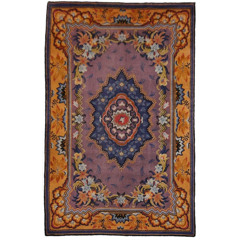 Art Nouveau Hand-Knotted Western European French Design Wool Rug For Sale
