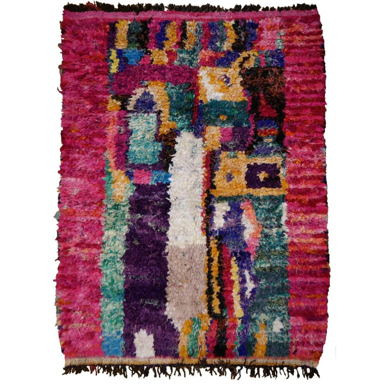 North African Tribal Khozema Rug Modern Moroccan Design For Sale