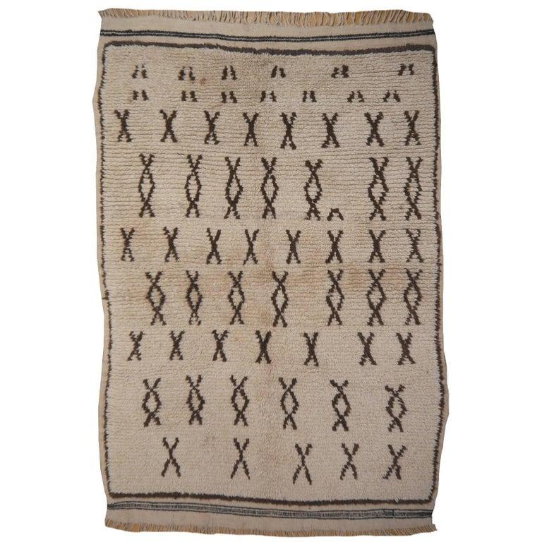 Vintage Moroccan Berber Rug Beige Brown North African Tribal Carpet
