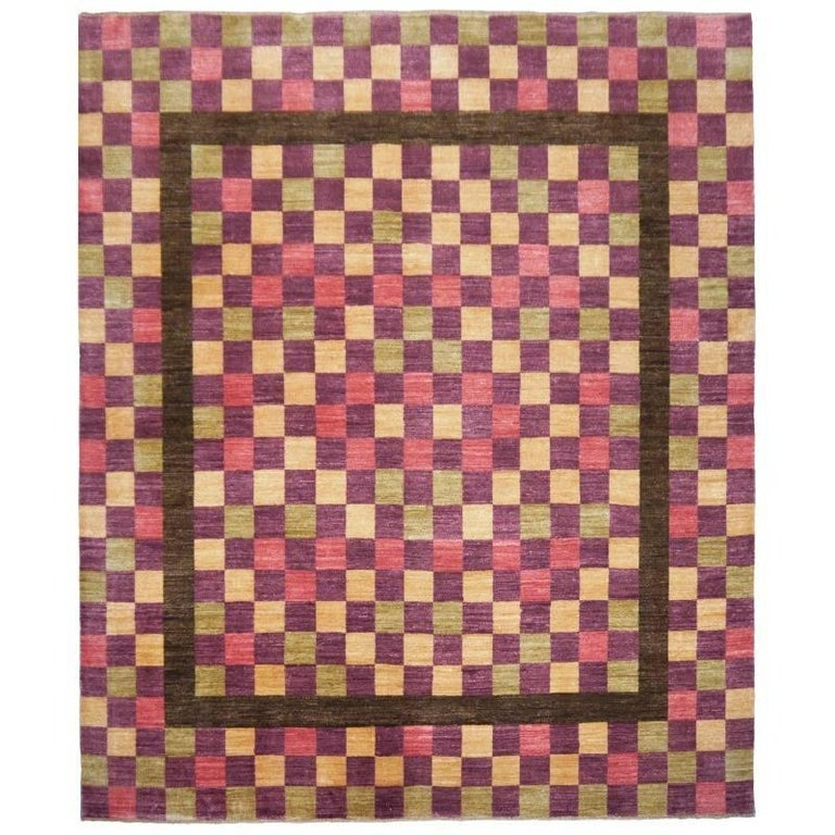 Modern Indian Agra Hand-Knotted Design Rug